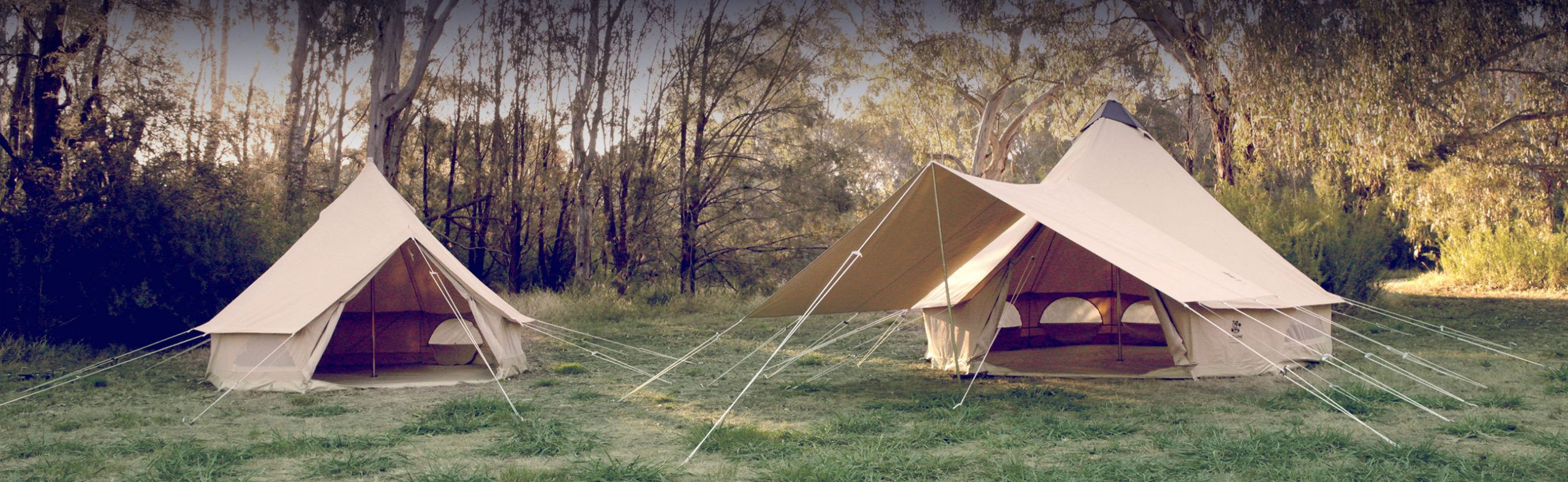 Psyclone high quality bell tents in bush setting for ultimate camping experience